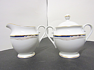 Stokes Formal Golden Swirl Sugar Bowl And Creamer