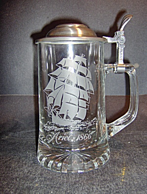Vintage Glass Etched Crystal Stein With Pewter Lid