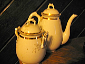 Charles Field White Gold Leaf Coffee Pot And Bowl