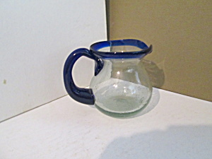 Vintage Blown Glass Clear Pitcher With Blue Trim