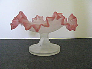 Vintage Art Glass Pink Frosted Opalescent Compote