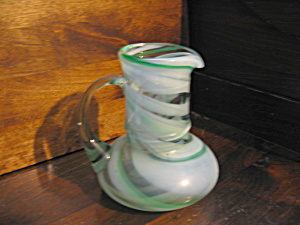 Vintage Art Glass Green Swirl Pitcher/jug