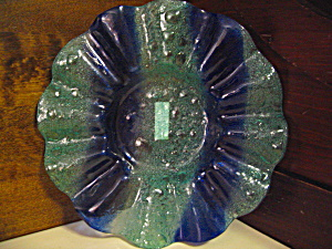 Venezia Blue/aqua Bubble Glass Dish