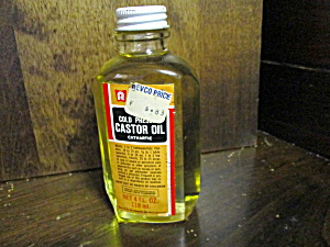 Vintage Glass Medicine Bottle Revco Castor Oil