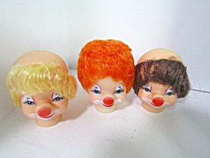 Vintage Clown Doll Heads Blond Brown & Orange Hair