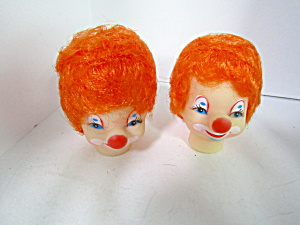 Vintage Clown Doll Heads Orange Hair