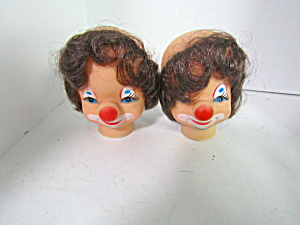 Vintage Clown Doll Heads Brown Hair
