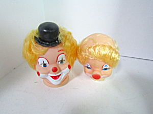 Vintage Clown Doll Heads Blond Hair