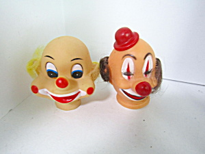 Vintage Clown Doll Heads Blond & Brown Hair
