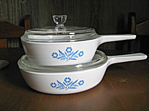Vintage Corning Cornflower Blue Skillet & Sauce Pan Set