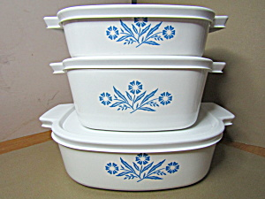 Vintage Corning Cornflower Blue Casserole Set