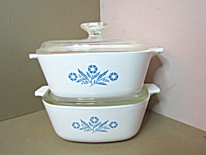 Corning Ware Set Two 1.5 Quart Cornflower Casseroles