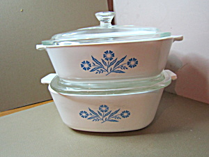 Corning Ware Set Two Covered Cornflower Casseroles