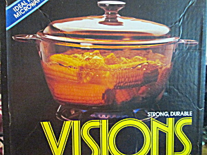 Vintage Corning Visions 5 Quart Amber Covered Saucepot