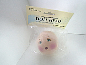 Wang's International Painted Wooden Doll Head Girl