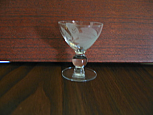 Vintage Ball Stemmed Leaf Etched Cocktail Glass