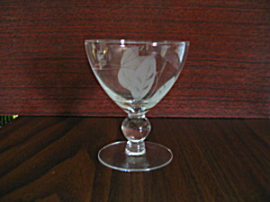 Vintage Ball Stemmed Leaf Etched Small Cockail Glass