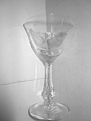 Vintage Diamond Stemmed Floral Etched Cordial Glass