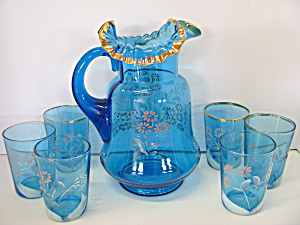 Victorian Era Lemmonde Blue Floral Pitcher & Glass Set