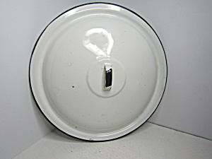Vintage Enamelware White/ Black Pan Cover