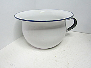 Vintage Enamelware White/ Black Child Potty Pan