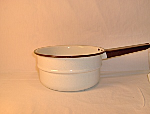 Vintage Enamelware Black & White Double Boiler Top Pan
