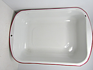 Vintage Enamelware White/red Large Deep Pan