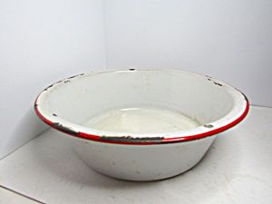 Vintage Enamelware White/red Wash Basin