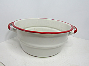 Vintage Enamelware White/red Double Boiler Handled Top