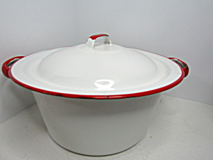 Vintage Enamelware White/red Small Stock Pot