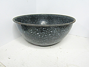 Vintage Graniteware Black Speckled Bowl