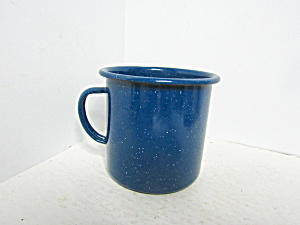 Vintage Enamelware Medium Blue Speckled Coffee Mug