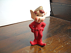Vintage Christmas Figurine Mini Red Pixie Elf