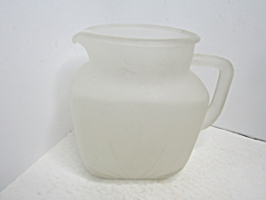 Vintage Federal Glass Frosted Juicee/water Pitcher