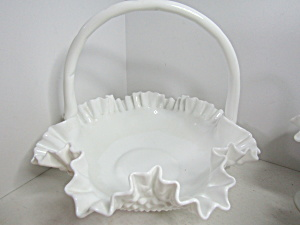 Fenton Hobnail Milk Glass Large Crimped Edge Basket