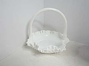 Fenton Hobnail Milk Glass Crimped Edge Basket