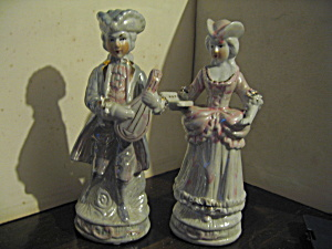 Vintage Colonial Couple Music Figurines