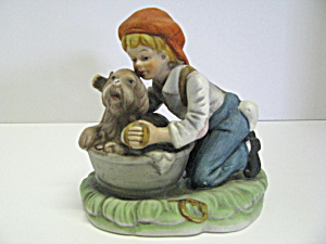 Vintage Figurine Boy Bathing His Dog