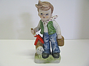 Vintage Figurine Boy Painting His Dog House