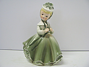Napco Girl Green Ruffled Dress Plant Holder