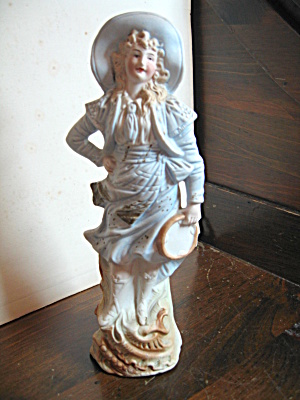 Hand Painted Figurine Western Lady With Tambourine