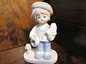 Porcelain Figurine Sailing Boy With Dog