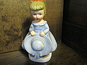 Vintage Japan Figurine Girl In Blue Hat In Hands