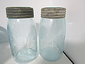 Vintage Cfj Aqua Mason's Improved Quart Fruit Jars