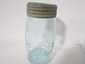 Vintage Cross Aqua Mason's Improved Quart Fruit Jars