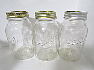 Three Vintage Ball Mason Quart Canning Jar
