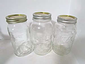 Vintage Atlas Mason Canning Jars Set Of Three