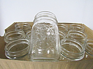 Vintage Ball Mason Fruit Embossed Pint Canning Jars