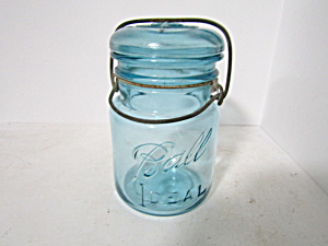 Vintage Pint Ball Aqua Ideal Wire Bail Fruit Jar