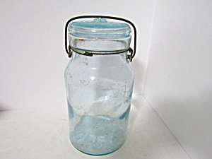 Vintage Atlas Aqua Wire Bail Quart Fruit Jar
